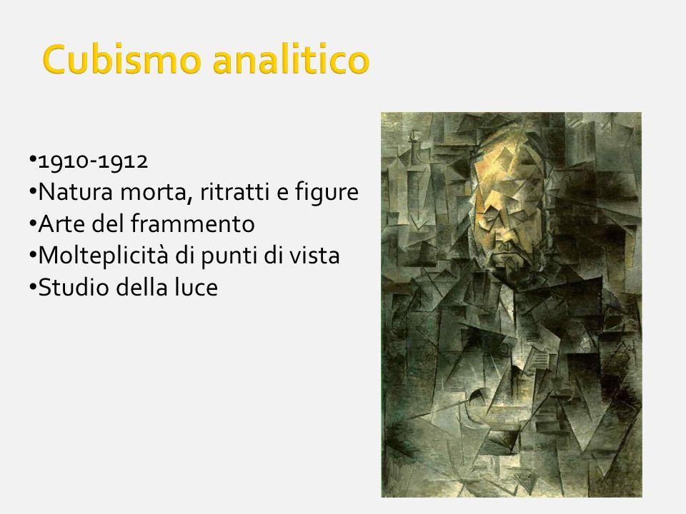 1910-1912 Natura morta, ritratti e figure Arte del frammento Molteplicità di punti di vista Studio della luce