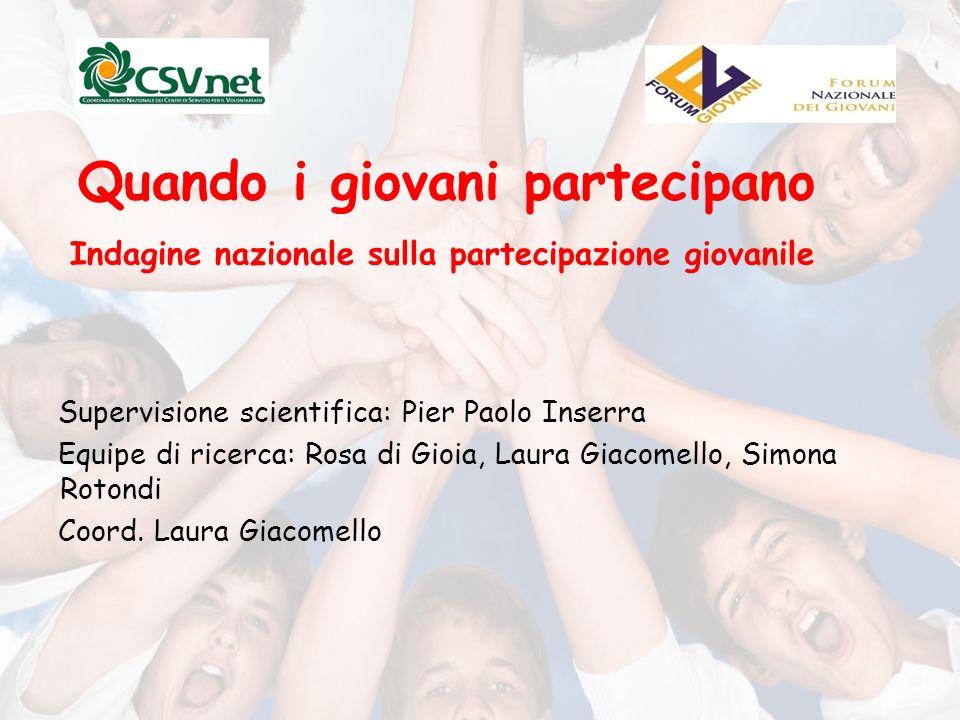 Quando i giovani partecipano Supervisione scientifica: Pier Paolo Inserra Equipe di ricerca: Rosa di Gioia, Laura Giacomello, Simona Rotondi Coord.