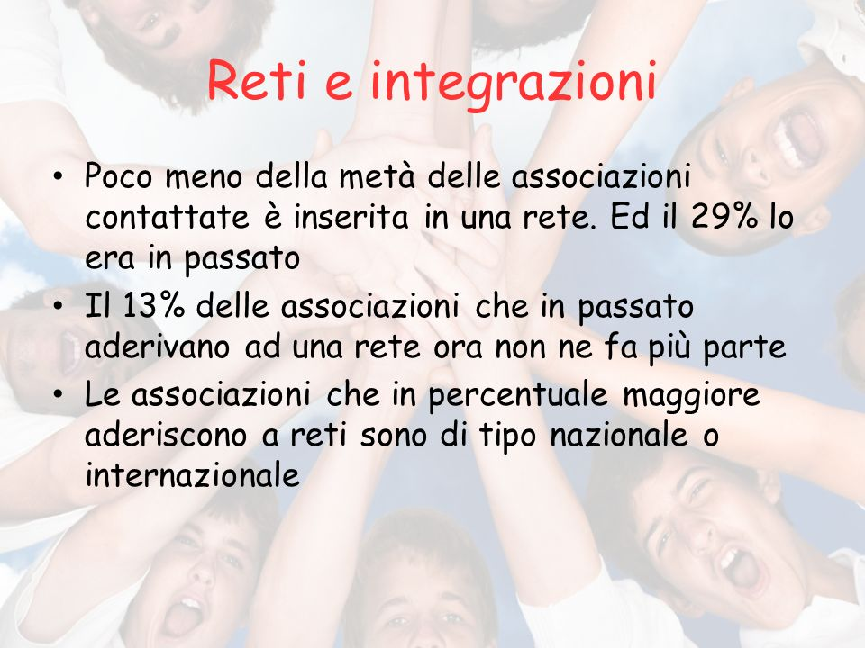 Reti e integrazioni Poco meno della metà delle associazioni contattate è inserita in una rete.