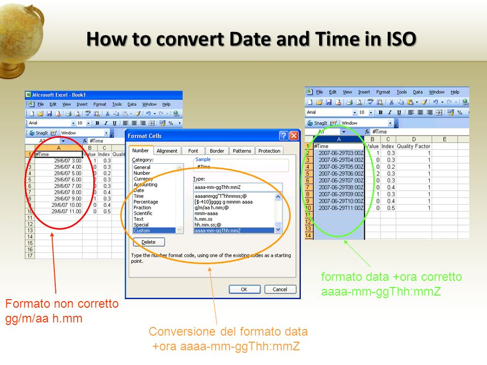 How to convert Date and Time in ISO Formato non corretto gg/m/aa h.mm Conversione del formato data +ora aaaa-mm-ggThh:mmZ formato data +ora corretto aaaa-mm-ggThh:mmZ