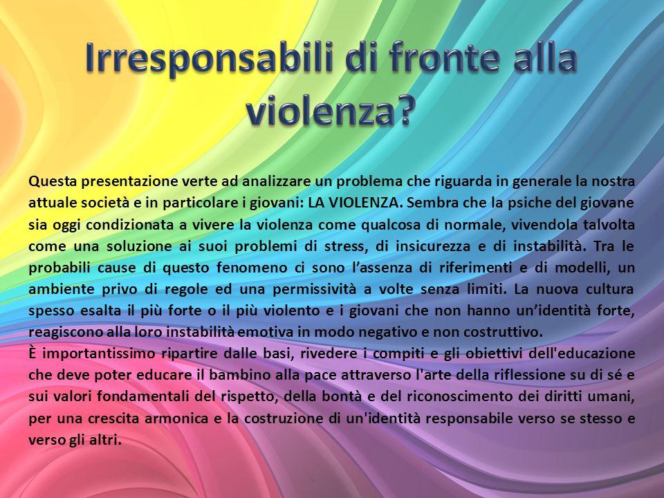 Questa presentazione verte ad analizzare un problema che riguarda in generale la nostra attuale società e in particolare i giovani: LA VIOLENZA.