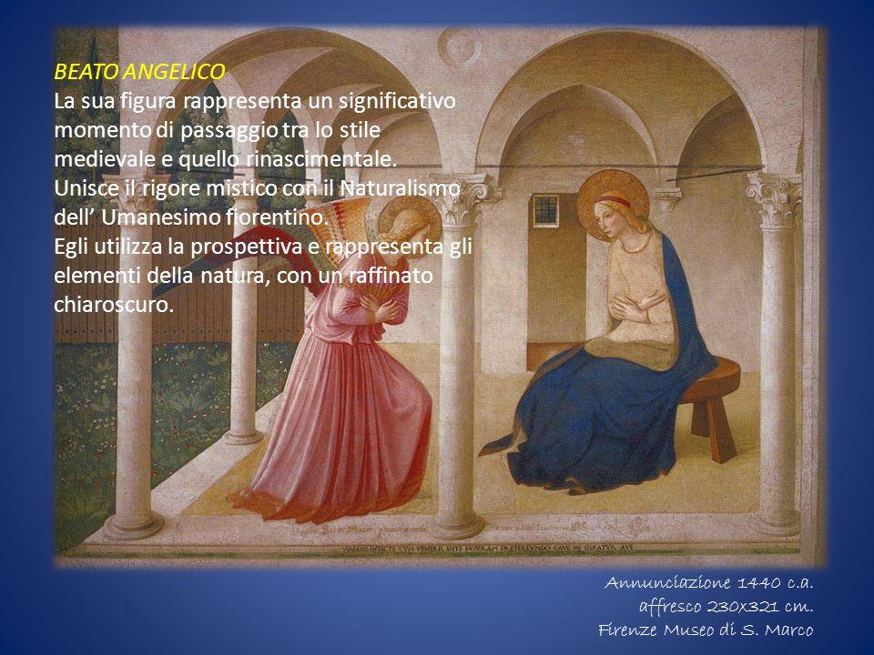 BEATO ANGELICO La sua figura rappresenta un significativo momento di passaggio tra lo stile medievale e quello rinascimentale. Unisce il rigore mistic