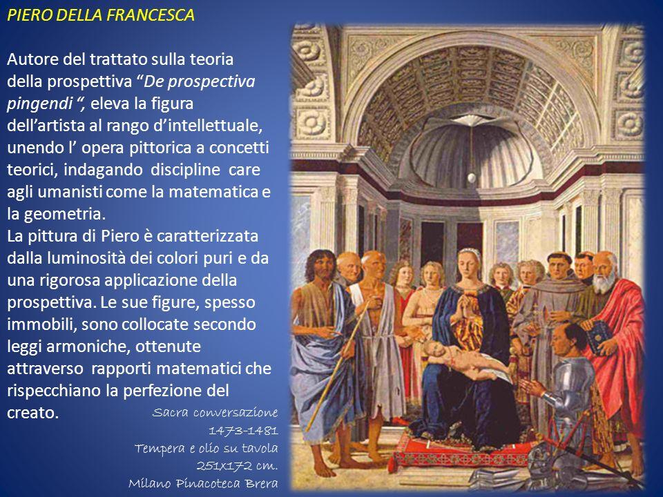 PIERO DELLA FRANCESCA Autore del trattato sulla teoria della prospettiva De prospectiva pingendi, eleva la figura dellartista al rango dintellettuale,