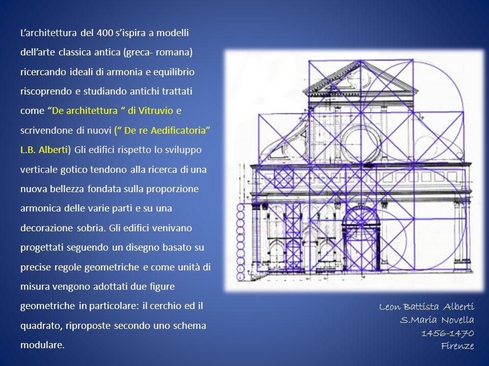 Larchitettura del 400 sispira a modelli dellarte classica antica (greca- romana) ricercando ideali di armonia e equilibrio riscoprendo e studiando ant