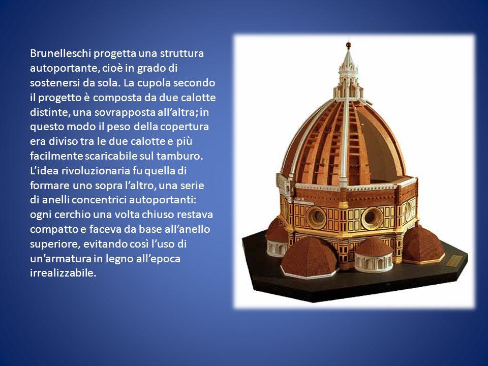 Brunelleschi progetta una struttura autoportante, cioè in grado di sostenersi da sola. La cupola secondo il progetto è composta da due calotte distint