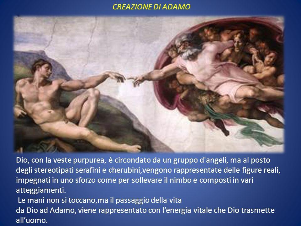 CREAZIONE DI ADAMO Dio, con la veste purpurea, è circondato da un gruppo d'angeli, ma al posto degli stereotipati serafini e cherubini,vengono rappres