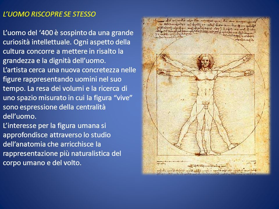 LUOMO RISCOPRE SE STESSO Luomo del 400 è sospinto da una grande curiosità intellettuale. Ogni aspetto della cultura concorre a mettere in risalto la g