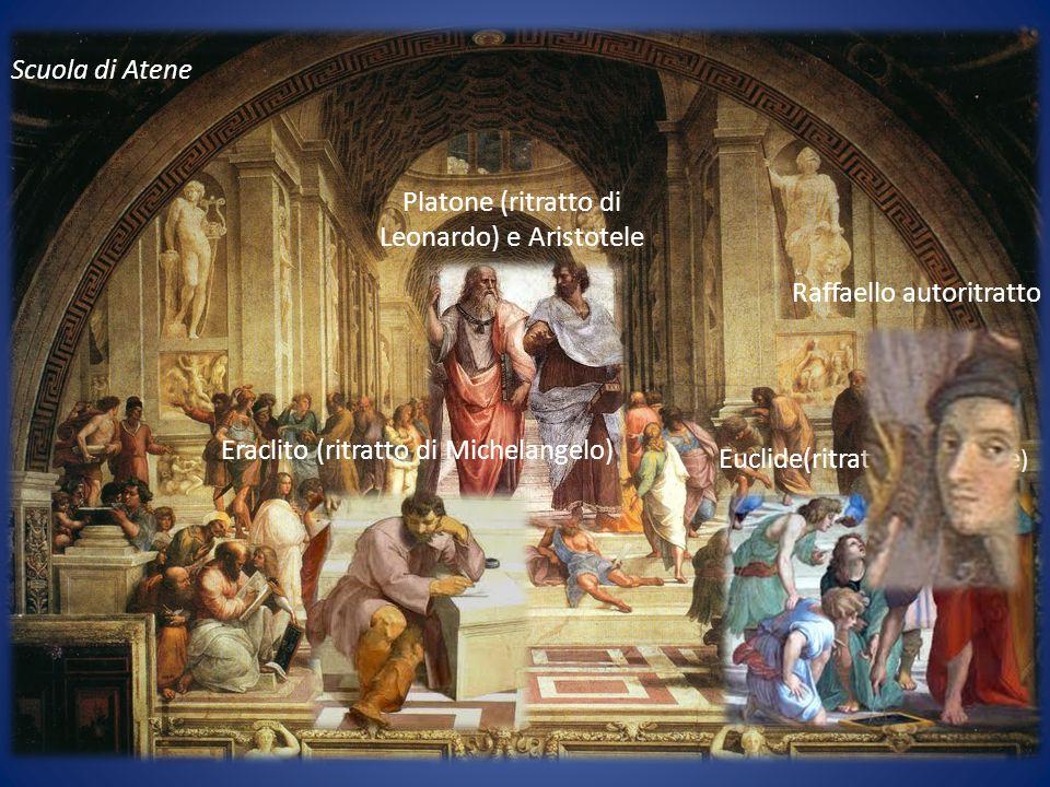 Scuola di Atene Platone (ritratto di Leonardo) e Aristotele Euclide(ritratto Bramante ) Eraclito (ritratto di Michelangelo) Raffaello autoritratto