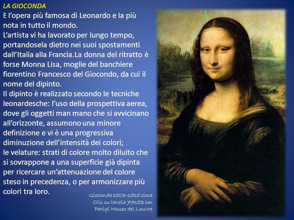 Gioconda 1503-1515 circa Olio su tavola 77x53 cm Parigi Museo del Louvre LA GIOCONDA È lopera più famosa di Leonardo e la più nota in tutto il mondo.