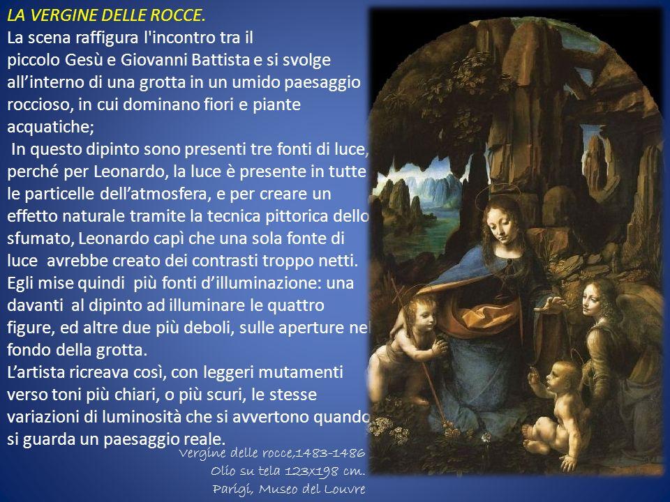 Leonardo da Vinci1843- 1846 Bartolomeo Scorione Musée du Louvre di Parigi Olio su tavola199x122 cm LA VERGINE DELLE ROCCE. La scena raffigura l'incont