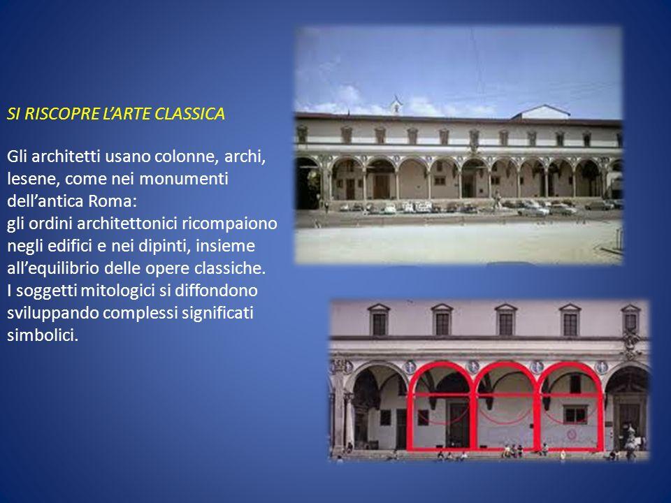 SI RISCOPRE LARTE CLASSICA Gli architetti usano colonne, archi, lesene, come nei monumenti dellantica Roma: gli ordini architettonici ricompaiono negl