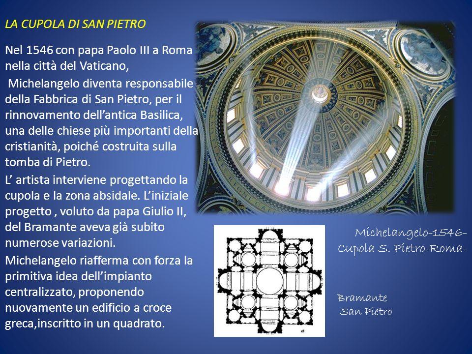 Michelangelo-1546- Cupola S. Pietro-Roma- Nel 1546 con papa Paolo III a Roma nella città del Vaticano, Michelangelo diventa responsabile della Fabbric