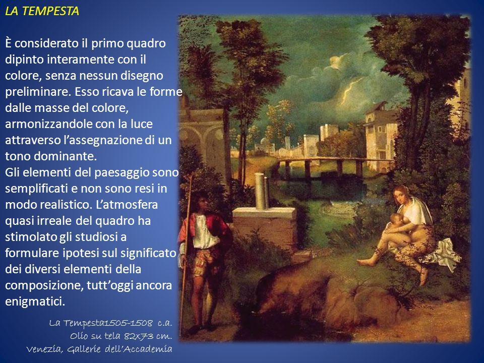 LA TEMPESTA È considerato il primo quadro dipinto interamente con il colore, senza nessun disegno preliminare. Esso ricava le forme dalle masse del co