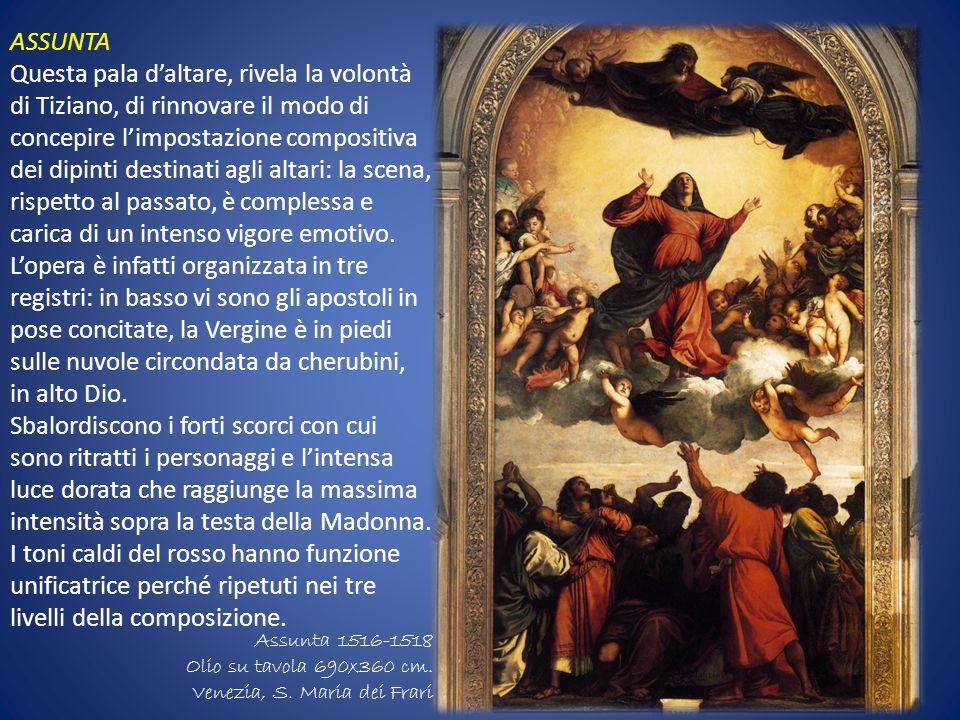 ASSUNTA Questa pala daltare, rivela la volontà di Tiziano, di rinnovare il modo di concepire limpostazione compositiva dei dipinti destinati agli alta