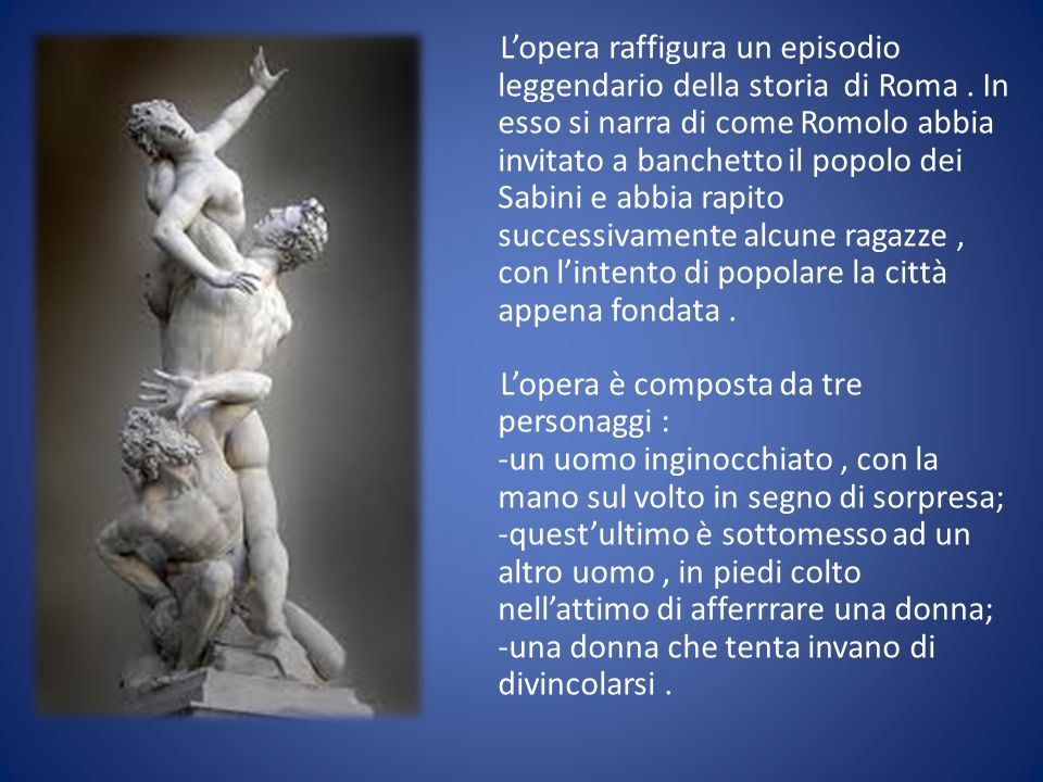 Lopera raffigura un episodio leggendario della storia di Roma. In esso si narra di come Romolo abbia invitato a banchetto il popolo dei Sabini e abbia