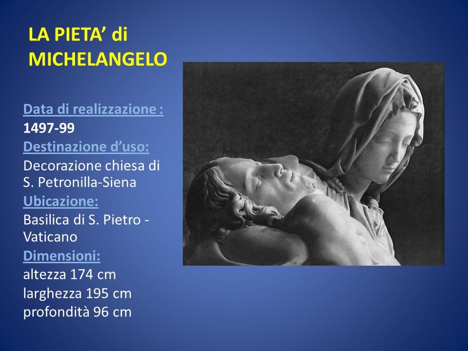 LA PIETA di MICHELANGELO Data di realizzazione : 1497-99 Destinazione duso: Decorazione chiesa di S. Petronilla-Siena Ubicazione: Basilica di S. Pietr