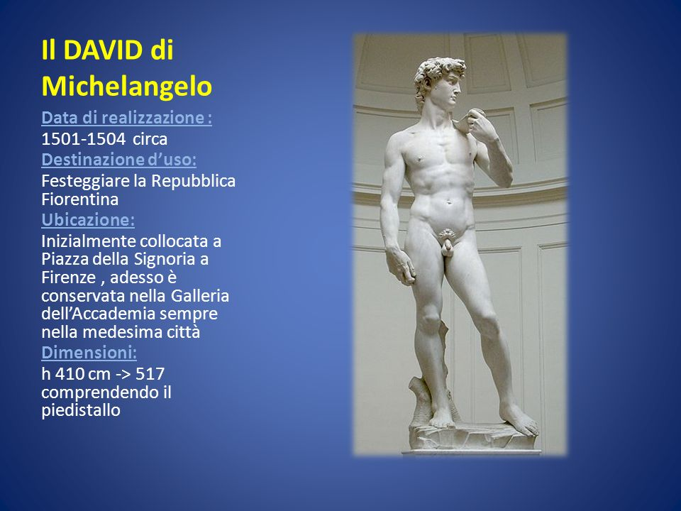 Il DAVID di Michelangelo Data di realizzazione : 1501-1504 circa Destinazione duso: Festeggiare la Repubblica Fiorentina Ubicazione: Inizialmente coll
