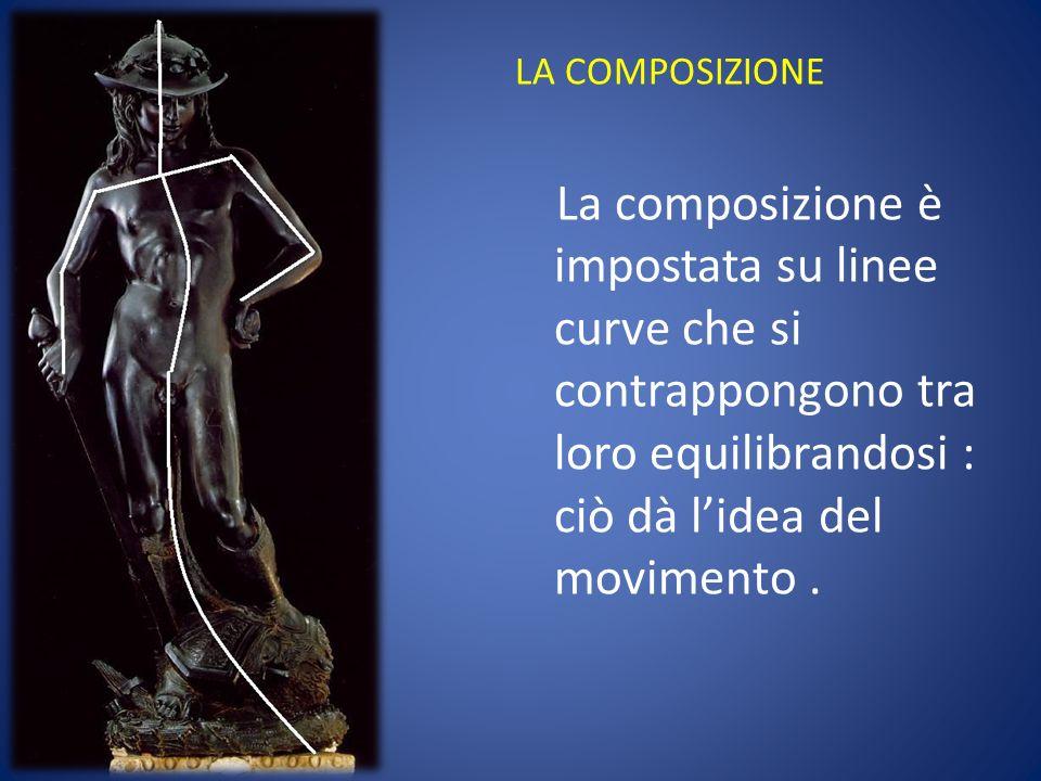 LA COMPOSIZIONE La composizione è impostata su linee curve che si contrappongono tra loro equilibrandosi : ciò dà lidea del movimento.
