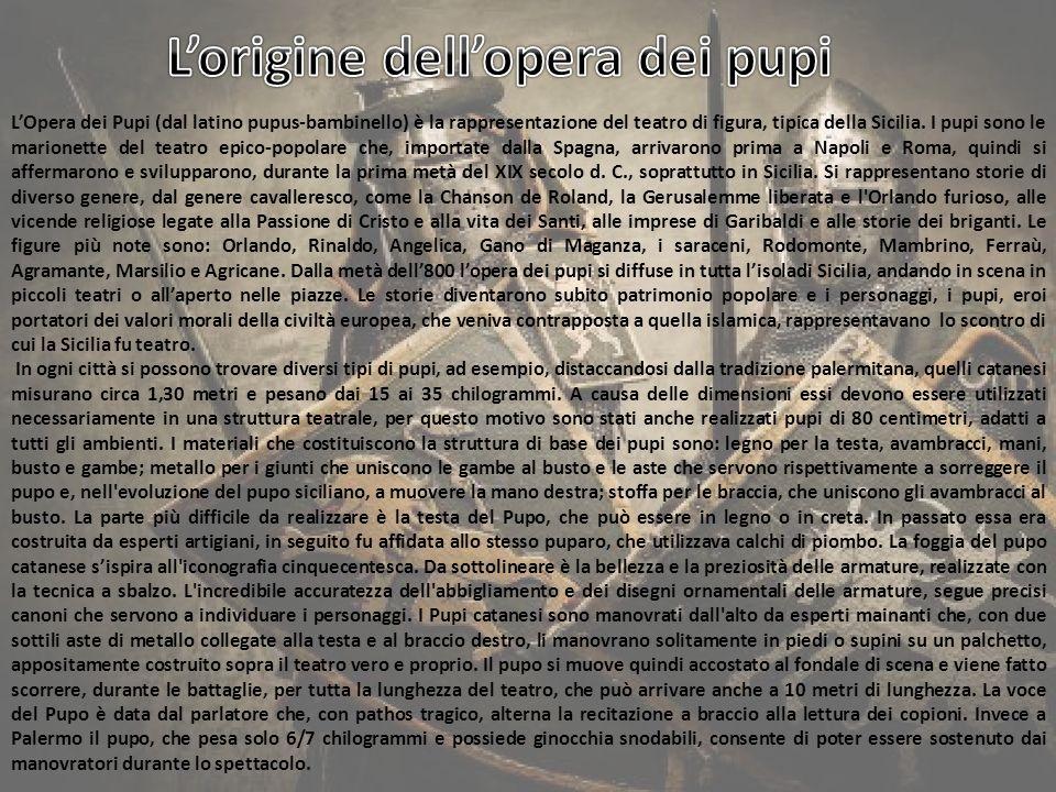 DOTAZIONE DEI TEATRI L attrezzatura completa dei teatri è chiamata mestiere e in media un teatro siciliano aveva un centinaio di pupi.