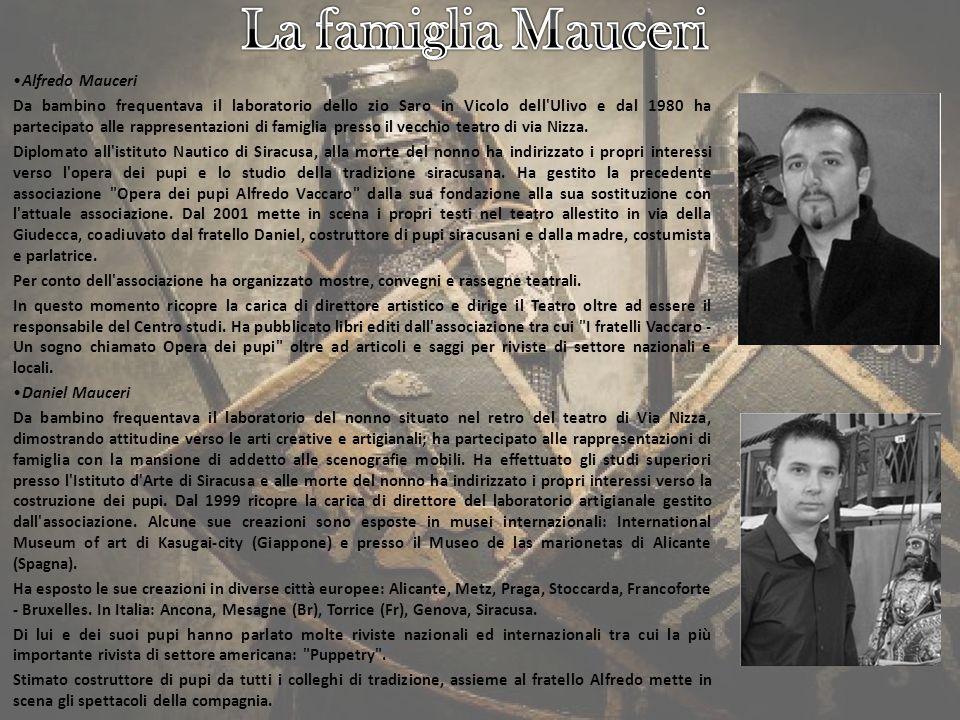 Lassociazione La compagnia dei pupari Vaccaro-Mauceri, fondata nel 1999, è lanello di congiunzione tra il passato, rappresentato dalloperato dei fratelli Saro e Alfredo Vaccaro, e i fratelli Daniel e Alfredo Mauceri, nipoti di Alfredo Vaccaro.