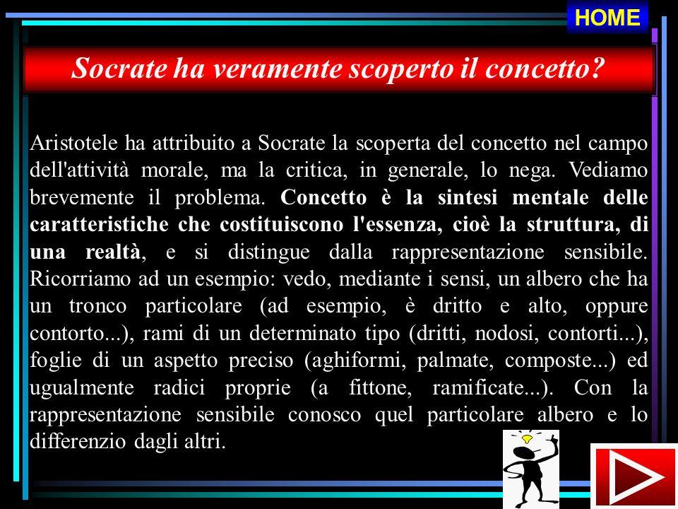 Socrate ha veramente scoperto il concetto? Aristotele ha attribuito a Socrate la scoperta del concetto nel campo dell'attività morale, ma la critica,