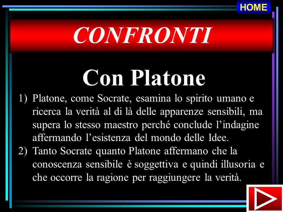 CONFRONTI Con Platone 1)Platone, come Socrate, esamina lo spirito umano e ricerca la verità al di là delle apparenze sensibili, ma supera lo stesso ma