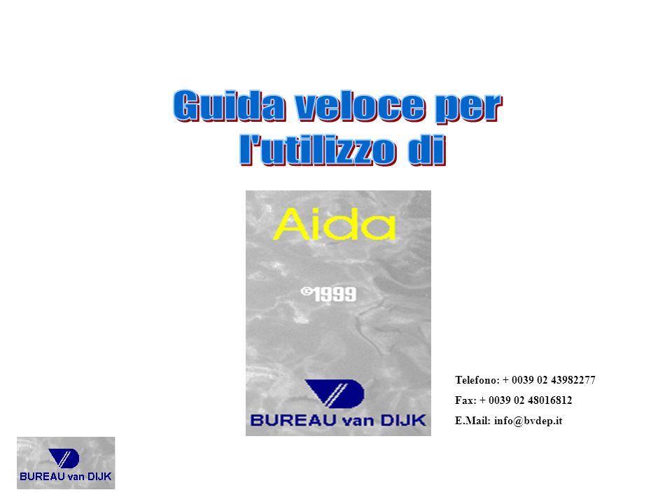 AIDA è il data-base che contiene gli ultimi 5 bilanci, analisi per indici, azionariato, partecipazioni e esponenti delle prime 120.000 società di capitale di tutta ITALIA.
