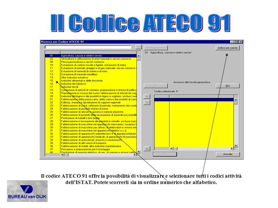 Il codice ATECO 91 offre la possibilità di visualizzare e selezionare tutti i codici attività dellISTAT. Potete scorrerli sia in ordine numerico che a
