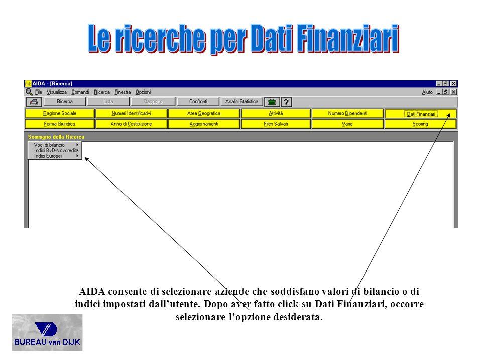 AIDA consente di selezionare aziende che soddisfano valori di bilancio o di indici impostati dallutente. Dopo aver fatto click su Dati Finanziari, occ