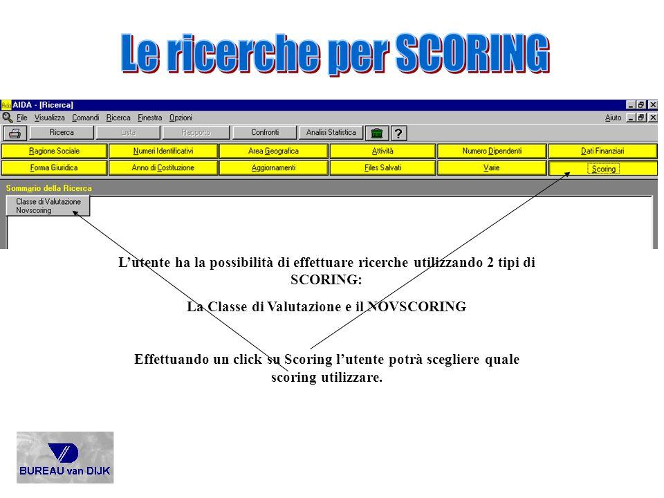 Lutente ha la possibilità di effettuare ricerche utilizzando 2 tipi di SCORING: La Classe di Valutazione e il NOVSCORING Effettuando un click su Scori