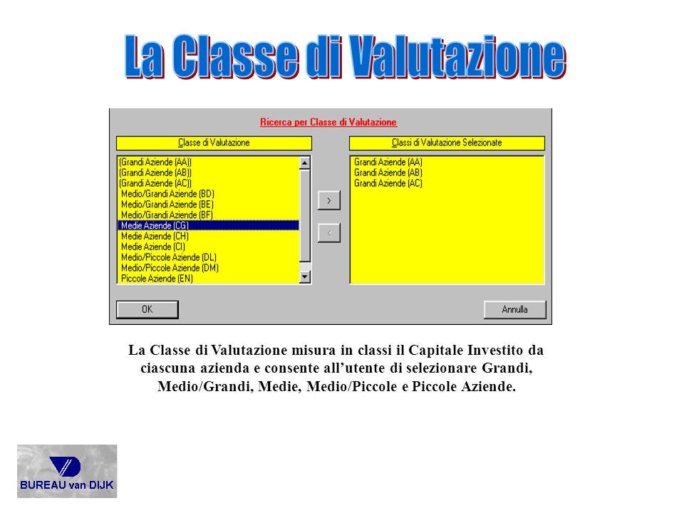 La Classe di Valutazione misura in classi il Capitale Investito da ciascuna azienda e consente allutente di selezionare Grandi, Medio/Grandi, Medie, M