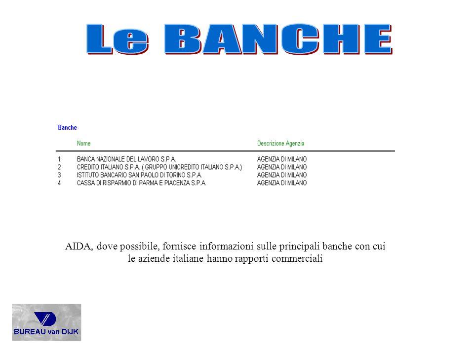 AIDA, dove possibile, fornisce informazioni sulle principali banche con cui le aziende italiane hanno rapporti commerciali
