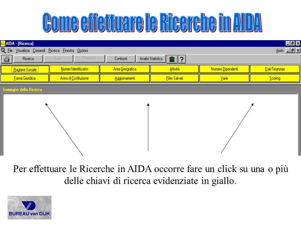 Per effettuare le Ricerche in AIDA occorre fare un click su una o più delle chiavi di ricerca evidenziate in giallo.
