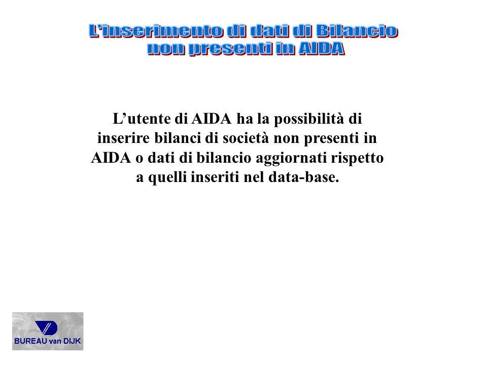 Lutente di AIDA ha la possibilità di inserire bilanci di società non presenti in AIDA o dati di bilancio aggiornati rispetto a quelli inseriti nel dat