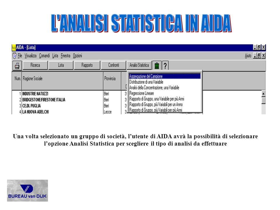 Una volta selezionato un gruppo di società, lutente di AIDA avrà la possibilità di selezionare lopzione Analisi Statistica per scegliere il tipo di an