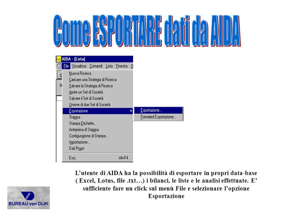Lutente di AIDA ha la possibilità di esportare in propri data-base ( Excel, Lotus, file.txt…) i bilanci, le liste e le analisi effettuate. E sufficien