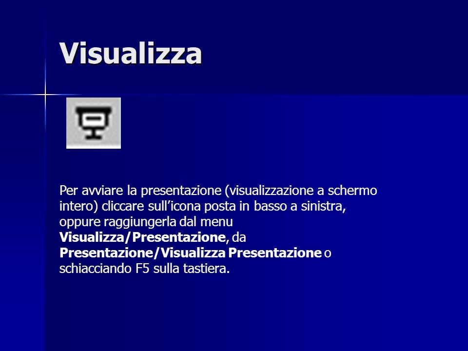 Per avviare la presentazione (visualizzazione a schermo intero) cliccare sullicona posta in basso a sinistra, oppure raggiungerla dal menu Visualizza/Presentazione, da Presentazione/Visualizza Presentazione o schiacciando F5 sulla tastiera.