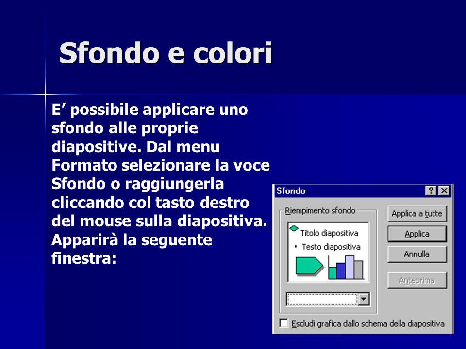 E possibile applicare uno sfondo alle proprie diapositive.