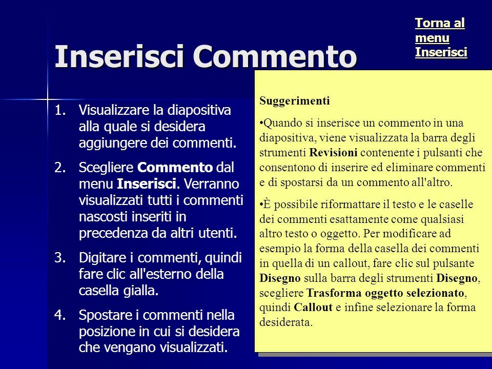 Inserisci Commento 1.1.Visualizzare la diapositiva alla quale si desidera aggiungere dei commenti.