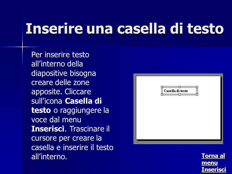 Per inserire testo allinterno della diapositive bisogna creare delle zone apposite.