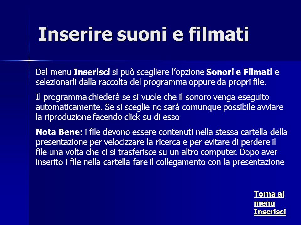 Dal menu Inserisci si può scegliere lopzione Sonori e Filmati e selezionarli dalla raccolta del programma oppure da propri file.