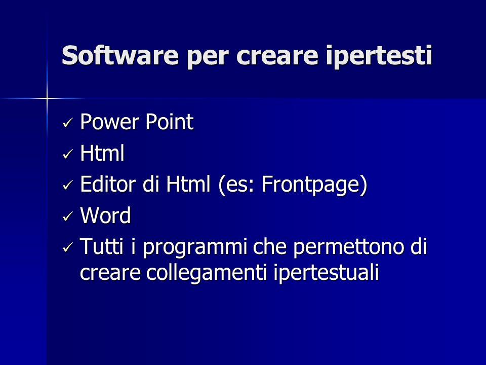 Software per creare ipertesti Power Point Power Point Html Html Editor di Html (es: Frontpage) Editor di Html (es: Frontpage) Word Word Tutti i programmi che permettono di creare collegamenti ipertestuali Tutti i programmi che permettono di creare collegamenti ipertestuali