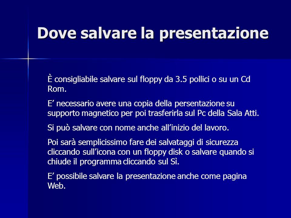 Dove salvare la presentazione È consigliabile salvare sul floppy da 3.5 pollici o su un Cd Rom.