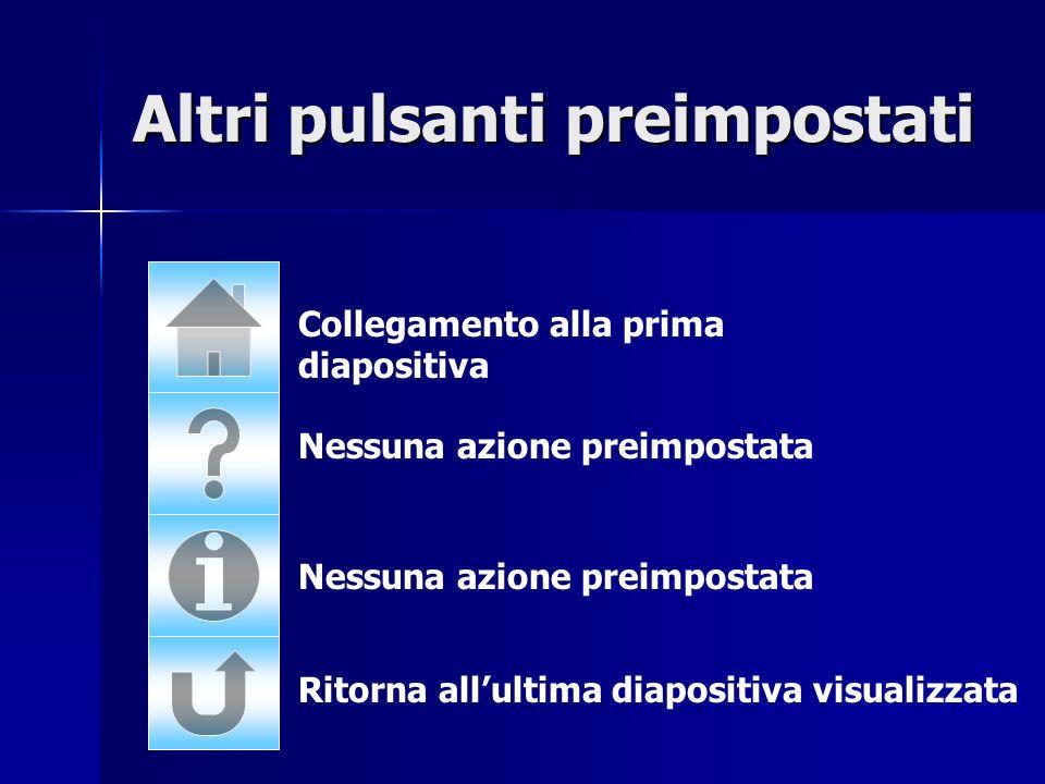 Collegamento alla prima diapositiva Nessuna azione preimpostata Ritorna allultima diapositiva visualizzata Altri pulsanti preimpostati