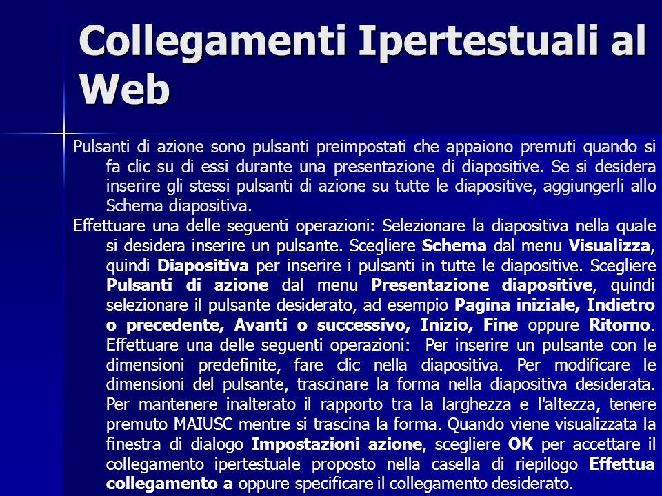 Collegamenti Ipertestuali al Web Pulsanti di azione sono pulsanti preimpostati che appaiono premuti quando si fa clic su di essi durante una presentazione di diapositive.