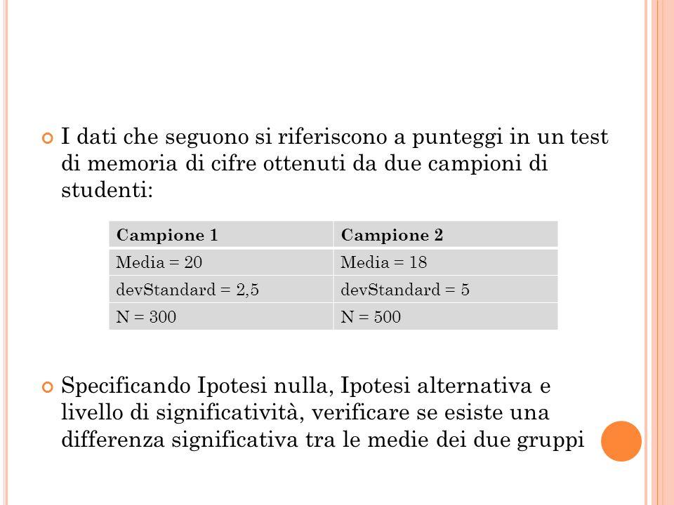 I dati che seguono si riferiscono a punteggi in un test di memoria di cifre ottenuti da due campioni di studenti: Specificando Ipotesi nulla, Ipotesi