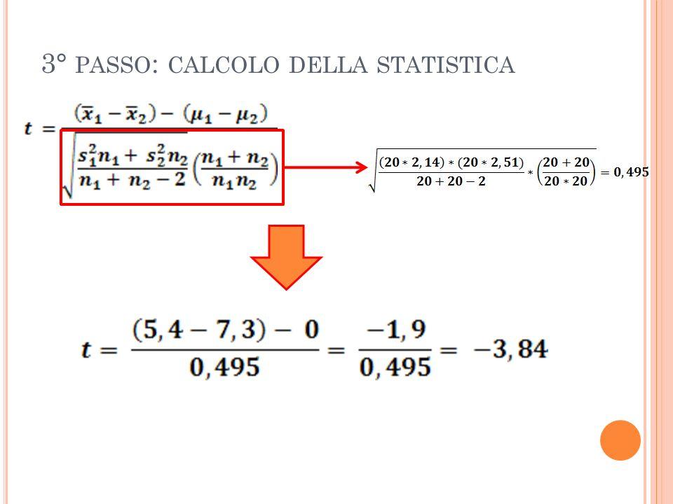 3° PASSO : CALCOLO DELLA STATISTICA