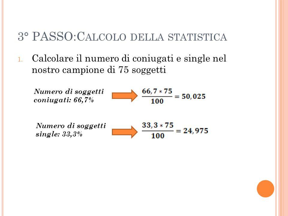 3° PASSO:C ALCOLO DELLA STATISTICA 1. Calcolare il numero di coniugati e single nel nostro campione di 75 soggetti Numero di soggetti coniugati: 66,7%