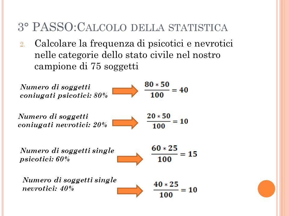 3° PASSO:C ALCOLO DELLA STATISTICA 2. Calcolare la frequenza di psicotici e nevrotici nelle categorie dello stato civile nel nostro campione di 75 sog