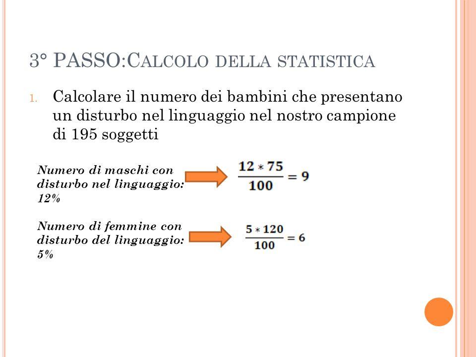 3° PASSO:C ALCOLO DELLA STATISTICA 1. Calcolare il numero dei bambini che presentano un disturbo nel linguaggio nel nostro campione di 195 soggetti Nu